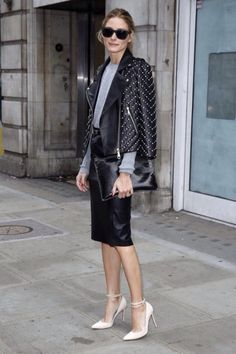 Olivia Palermo #streetstyle Leather Jacket