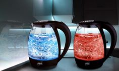 This cordless 1.7L kettle features an intriguing glass body and illuminated display that turns red or blue as the water boils