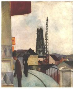 Catedral of Freiburg in the Switzerland, 1914 by August Macke. Expressionism. cityscape
