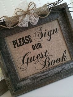 Here Comes the Bride Banner Sign Guest Book Wedding Burlap Rustic Country