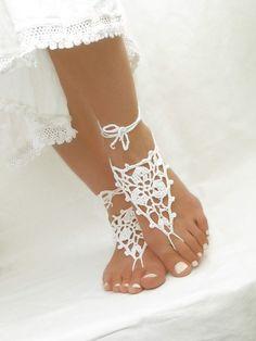 Sandales nu-pieds blancs Crochet plage sandales de mariage nuptiales bracelets Bare pied chaussures Soleless bijoux Footless sandales de choses elfique
