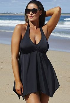 e9dd7ee3443b2 Plus Size - Tropiculture Black Handkerchief Swimdress Swimsuits For All