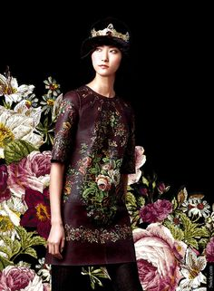 Dolce&Gabbana fall winter 2014-2015 collection floral printed leather dress