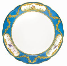 Two dinner plates from the Alexandrinsky Turquoise Service, Imperial Porcelain Manufactory, St Petersburg, period of Nicholas II (1894-1917), dated 1899 the turquoise borders festooned with ciselé gilt oak swags and painted with three reserves of birds, with green underglaze Imperial cypher of Nicholas II, dated 1899