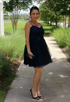 Modcloth navy dress and my name necklace with a little Stella and dot|Pretty In Her Pearls