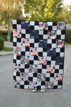 """My Daughter, Ella, pieced this Star Wars quilt! We are a total Star Wars Nerd Family!! This quilt is such a great beginner quilt because it teaches a few """"tricks"""", it is simple to pie…"""