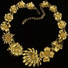Trifari 'Kunio Matsumoto' Golden Flowers Necklace