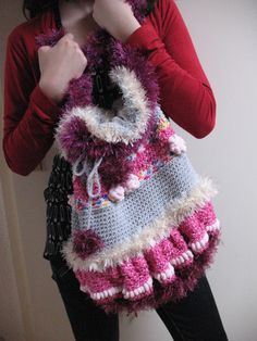 Crocheted bag, pink, grey, red, white,  long strap, Pom Pom embelishment