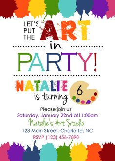 Birthday Invitation art party digital or printed by ArlaCreations, $10.00