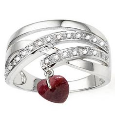 Charming Heart Ruby Diamond Ring! This gorgeous ring features an exquisite genuine ruby dangling with heart in motion which crafted on a pure 0.925 sterling silver with platinum plated for longer lasting in beauty. Adding two twinkling genuine diamonds making this a complete jewelry with value. This ring is selling by every second, so hurry and get yours today.  Today's Price : $9.50