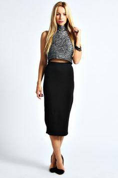 Alexis Black Midi Tube Skirt at boohoo.com