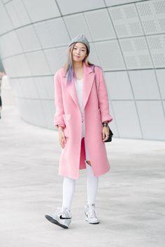 Seoul Fashion Week Street Style #winterstyle #pinkcoat #pastel