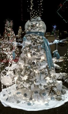 Snowman Decorated Christmas Tree