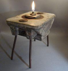 MOJURU - A Metal and Concrete Oil Lamp. $725.00, via Etsy.