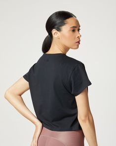 The perfect relaxed, boxy tee with an embossed MICHI logo. Layer over your sports bra and pair with MICHI leggings or wear it with high waisted denim. Styled with The Stellar Legging. Also available in: White. Patterned Leggings, Blue Leggings, After Workout, Workout Wear, Cute Things For Girls, Waisted Denim, Gym Style, Crop Tank, S Models