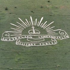 Regimental badges cut into the Wiltshire chalk downes to commemorate Australian and British soldiers who died in the two World Wars. Salisbury Plain, Anzac Day, Veterans Affairs, British Soldier, Australia Day, Crop Circles, Lest We Forget, White Horses, Badge