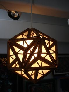 Great-Dodecahedron Hanging Ceiling Lamp, laser-cut wood
