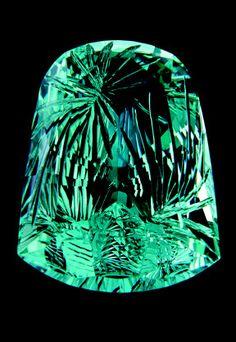 What stunning workmanship - a 52-carat aquamarine gem sculpture by Larry Winn.  Secrets Of The Gem Trade