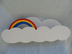 Cloud shelves with rainbows on a blue feature wall :)