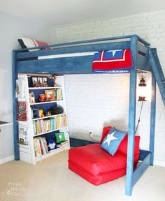 A DIY Blue Loft Bed for my son and how I stained it with Minwax Express Color in two easy steps.
