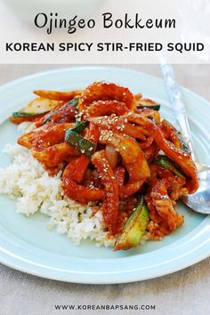 Ojingeo bokkeum is a spicy stir-fried squid dish. Ojingeo is squid, and bokkeum refers to the dishes that are stir-fried. If you love squid and spicy food, this flavor packed dish is easy to make with a few staple Korean ingredients. #koreansquid #ojingeobokkeum #squidrecipe #dinner #koreanrecipe #koreanbapsang @koreanbapsang | koreanbapsang.com Squid Recipes, Spicy Recipes, Asian Recipes, Healthy Recipes, Asian Desserts, Asian Foods, Seafood Recipes, Healthy Food, Cooking Recipes