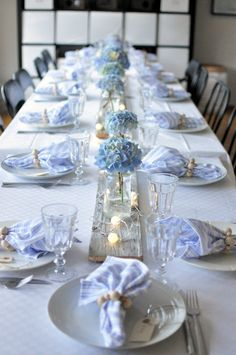 Bridal Shower Decorations Centerpieces - New ideas Blue Wedding, Wedding Table, Wedding Reception, Wedding Flowers, Periwinkle Wedding, Blue Hydrangea Wedding, Bridesmaid Flowers, Reception Table, Table Arrangements