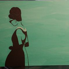 Audrey Hepburn silhouette acrylic painting in teal.