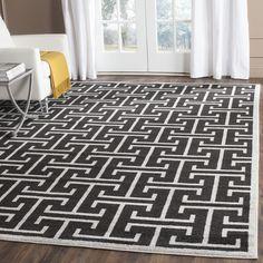 Safavieh Indoor/ Outdoor Amherst Anthracite/ Light Grey Rug (9' x 12') (AMT404G-9), Black, Size 9' x 12' (Polypropylene, Oriental)