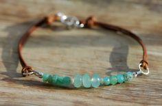 Chrysoprase and Peruvian Blue Opal Leather Bracelet,  Silver Bracelet, Artisan, Handmade Jewelry. $44.00, via Etsy.