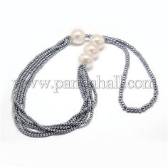 Glass Pearl Bead NecklacesNJEW-O059-02A-1