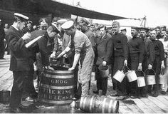 Royal Navy sailors lining up for their rum ration, pre-WW2