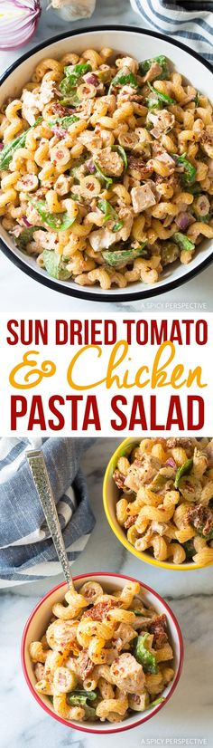 Sun Dried Tomato Chicken Pasta Salad Recipe A cool summer pasta salad, loaded with chicken, olives, sun dried tomatoes, spinach, and onions, kissed with a creamy sauce! via @spicyperspectiv
