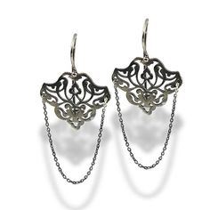 Ethnic Dangle Oxidized Sterling Silver Errings, Long Silver Earrings, blues, vintage, long, Chain Handmade Bridal Earrings, Personalized Gift, by EttySilverJewelry,
