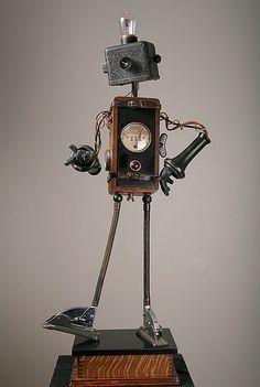 "Found-object retro robot. ""Walt"" by Rivamonte Robots."