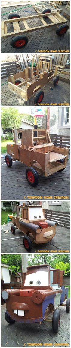 There Was a Soapbox Racer, and He Decided to Make Mater (Cars) from Repurposed Pallets and Other Materials Fun Pallet Crafts for Kids