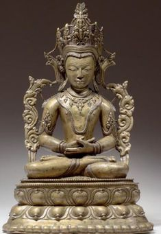 13th century, Tibet, supreme buddha Vajrasattva, copper alloy with silver and copper inlay,  private collection