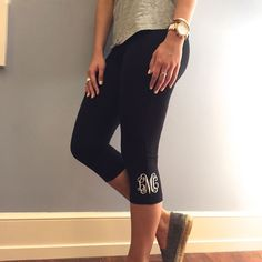 Enjoy the comfort of leggings in a cropped capri length. These are high rise with an elastic waistband. One Size fits S-XL. Black and charcoal leggings will be monogra Vine Monogram, Monogram Shirts, Personalized Shirts, Black Leggings, Capri Leggings, Preppy, What To Wear, At Least, Outfits