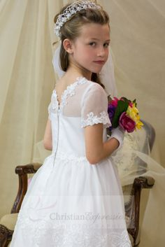 54e97ffe8c8 Organza First Communion dress with lace and satin banding