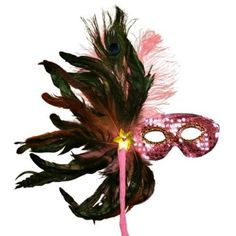Amazon.com: Pink Sequin Masquerade Feather Mask: Clothing