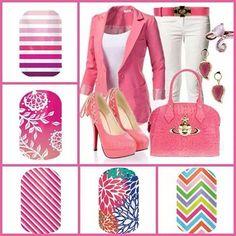 Pretty in pink in nail wraps.  #NailArt #MeganKsJams #prettyinpink #chevron