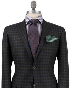 Kiton Olive, Chocolate and Navy Check Sportcoat