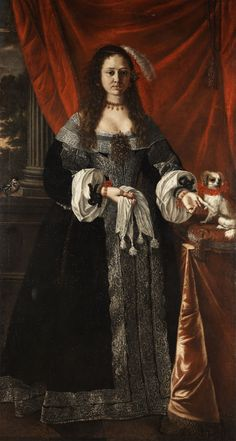 Portrait of a lady with a dog; circle of Pier Francesco Cittadini (1616–1681) , 17th century