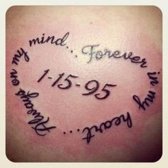 memorial tattoo with quote for mom, mom tattoo, tribute tattoo by Janet Skeens Chapman