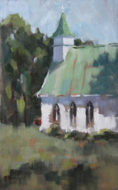 Little White Church by Lesley Powell Oil ~ 15 x 9 Landscape Art, Landscape Paintings, Barn Paintings, Oil Painting Supplies, Christian Art, Pictures To Paint, Painting Techniques, Monuments, Painting Inspiration