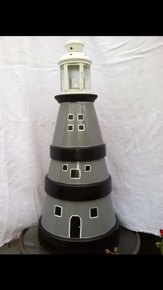 Clay pot light house . Just pick different size pots. Paint to your tast. Don't forget to use a good clear coat if it's going to be outside. We added a ikea tea light lantern to the top. Looks great for day and night appearance .