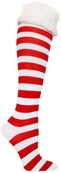 b6dba8162 Christmas Faux Fur Cuff Knee High Socks Knee High Socks