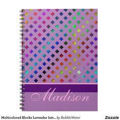 Multicolored Blocks Lavendar Initial Notebook