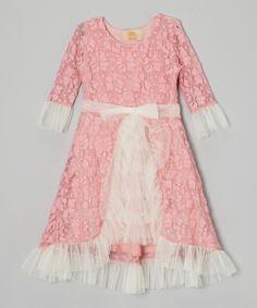 Crème & Pink Overlay Ruffle Princess Dress - Mia Belle Baby