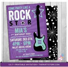 Rock Star Birthday Party Invitation Printable by thepartystork 18th Birthday Party Themes, Dance Party Birthday, Boy Birthday Parties, Birthday Ideas, Birthday Gifts, Birthday Cake, Rockstar Party, Rockstar Birthday, 1st Birthday Girls