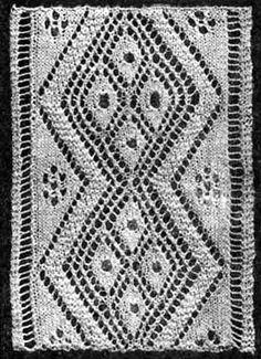 Free Knitting Pattern: Open Diamond Insertiion 1906